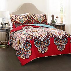 Red Boho Chic 3-pc. Full/Queen Quilt Set
