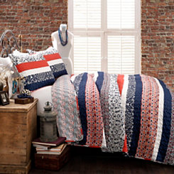 Navy Boho Stripe 3-pc. Full/Queen Quilt Set