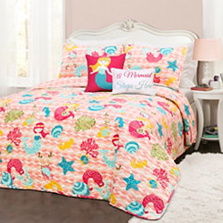 Mermaid Waves Queen 5 Piece Quilt Set