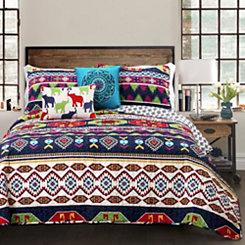 Sanoma Navy King 5 Piece Quilt Set
