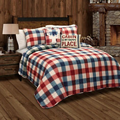 Red and Green Checkered Queen 5 Piece Quilt Set