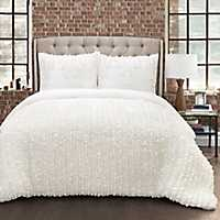 Ruffle Stripe King 3 Piece Comforter Set