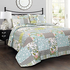 Blue Raina 3-pc. Full/Queen Quilt Set