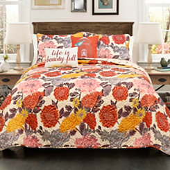Agatha King 5 Piece Quilt Set