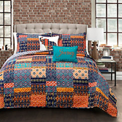 Maisha Checkered Queen 5 Piece Quilt Set