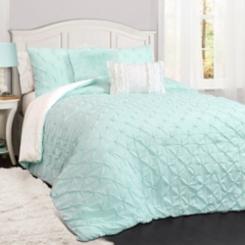 Rory Pintuck Aqua Twin 4 Piece Comforter Set