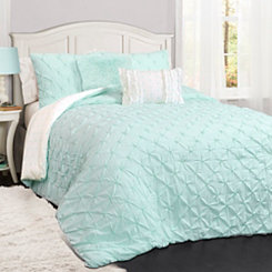 Rory Pintuck Aqua Queen 5 Piece Comforter Set