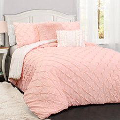 Rory Pintuck Pink Queen 5 Piece Comforter Set