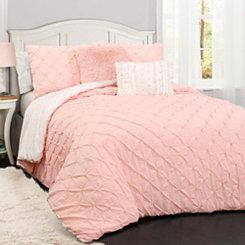 Rory Pintuck Pink Queen 5 Piece Comforter Set