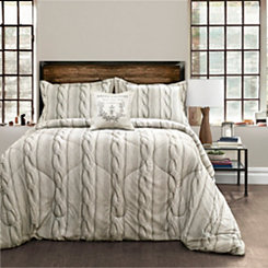 Printed Cable Knit Queen 4 Piece Comforter Set