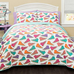 Canvas Shoes Queen 3 Piece Quilt Set