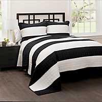 Black Britain Stripe 3-pc. Full/Queen Quilt Set