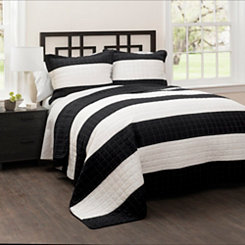 Black Britain Stripe 3-pc. Full/Queen Quilt Set