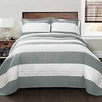 Gray Britain Stripe 3-pc. King Quilt Set