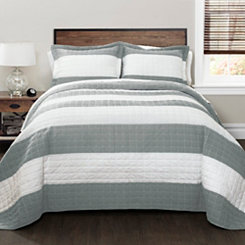 Gray Britain Stripe 3-pc. King Quilt Set