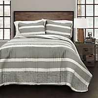 Gray Thin Stripe 3-pc. Full/Queen Quilt Set