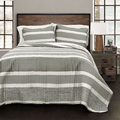 Gray Thin Stripe 3-pc. Full/Queen Quilt Set
