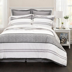 Gray Hena Stripe 6-pc. Queen Comforter Set