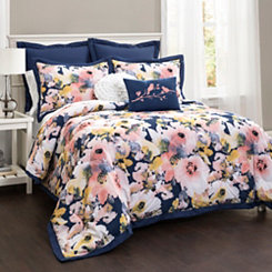 Floral Watercolor 7-pc. Full/Queen Comforter Set