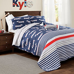Sausage Dog Navy Queen 4 Piece Quilt Set