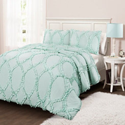 Light Aqua Abba 3-pc. Full/Queen Comforter Set