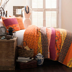 Royal Majesty Tangerine Queen 3 Piece Quilt Set