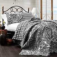 Adaline Black and White Queen 3 Piece Quilt Set