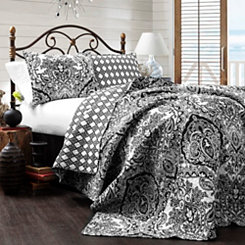 Adaline Black and White Queen 3 Piece Quilt Set