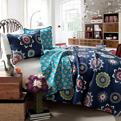 Audrey Navy Queen 3 Piece Quilt Set