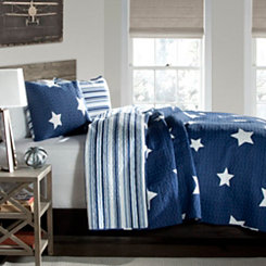 Stars and Striped Navy Queen 3 Piece Quilt Set