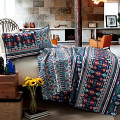 Navajo Navy and Turquoise Queen 3 Piece Quilt Set