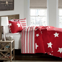 Stars and Striped Red Queen 3 Piece Quilt Set