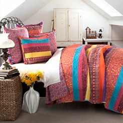 Boho Striped Fuchsia Queen 5 Piece Quilt Set