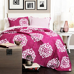 Stella Fuchsia Queen 3 Piece Quilt Set