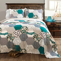 Brooklyn Turquoise Queen 3 Piece Quilt Set
