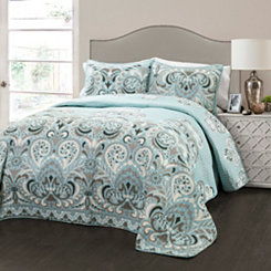 Carla Blue King 3 Piece Quilt Set