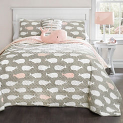 Whale Pink Queen 5 Piece Quilt Set