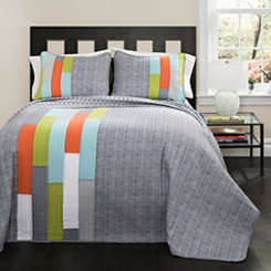 Sadie Stripe Orange and Blue Queen 3-pc. Quilt Set