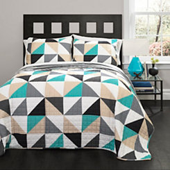 Ariana Geometric Turquoise Queen 3 Piece Quilt Set