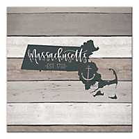 Massachusetts Shiplap Canvas Art Print