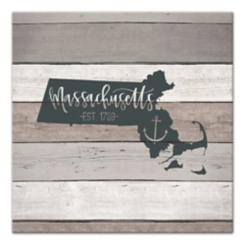 Massachusetts Shiplap Canvas Art Print
