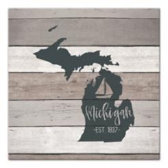 Michigan Shiplap Canvas Art Print