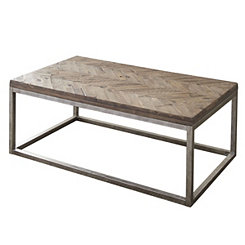 Leo Rustic Wood Herringbone Coffee Table
