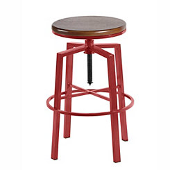 Aaron Red Adjustable Bar Stool
