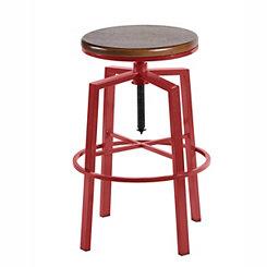 Aaron Red Adjustable Bar Stool