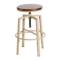 Aaron Beige Adjustable Bar Stool