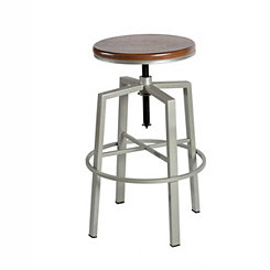 Aaron Silver Adjustable Bar Stool