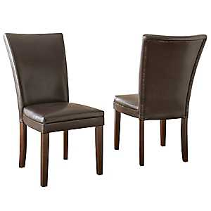 Hughes Brown Leather Parsons Chairs, Set of 2