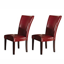 Hughes Red Leather Parsons Chairs, Set of 2
