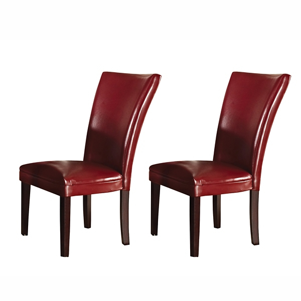 ... Hughes Red Leather Parsons Chairs, Set Of 2 ...